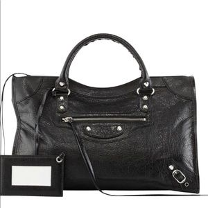 Balenciaga Classic Silver Nickle City Bag, Black